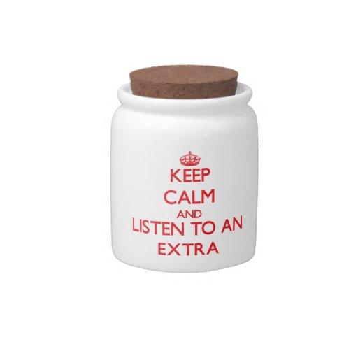 Guarde la calma y escuche un suplemento jarra para caramelo