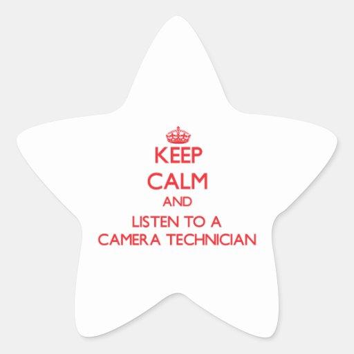 Guarde la calma y escuche un técnico de la cámara pegatina en forma de estrella