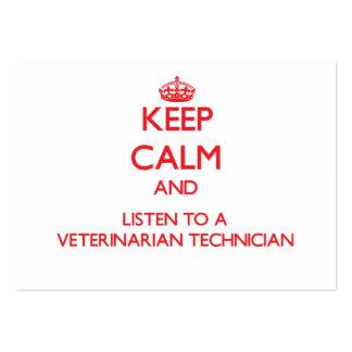 Guarde la calma y escuche un técnico veterinario tarjeta de visita