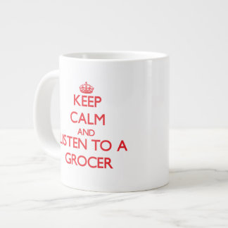 Guarde la calma y escuche un tendero tazas jumbo