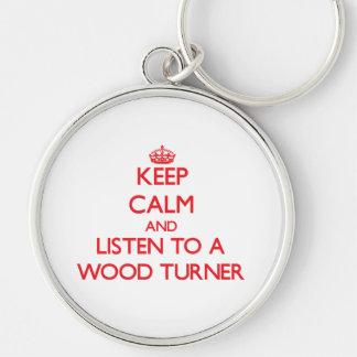 Guarde la calma y escuche un Turner de madera Llavero Personalizado