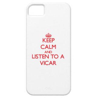 Guarde la calma y escuche un vicario iPhone 5 Case-Mate fundas