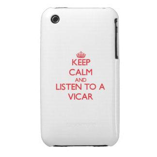 Guarde la calma y escuche un vicario iPhone 3 Case-Mate protector