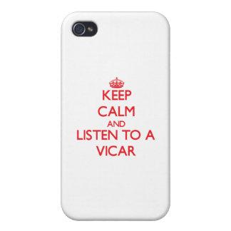 Guarde la calma y escuche un vicario iPhone 4/4S funda
