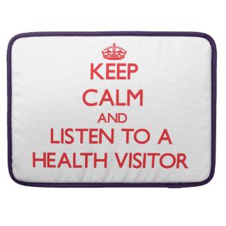Guarde la calma y escuche un visitante de la salud fundas macbook pro