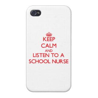 Guarde la calma y escuche una enfermera de la escu iPhone 4/4S carcasas