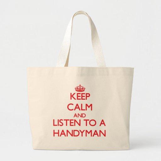 Guarde la calma y escuche una manitas bolsa de mano