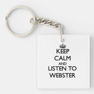 Guarde la calma y escuche Webster Llavero Cuadrado Acrílico A Una Cara