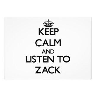 Guarde la calma y escuche Zack