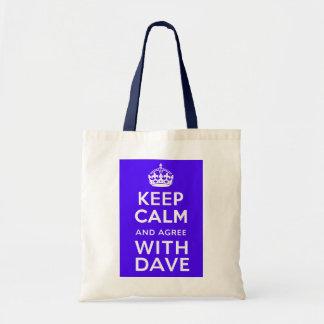 Guarde la calma y esté de acuerdo con política del bolsa tela barata