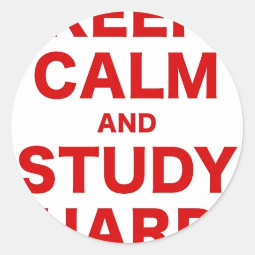 Guarde la calma y estudie difícilmente pegatina redonda