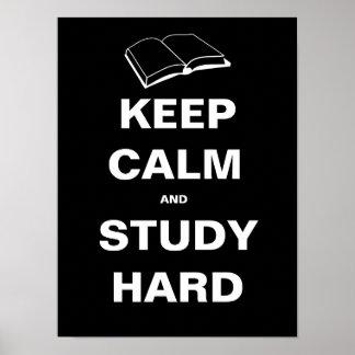 Guarde la calma y estudie difícilmente póster