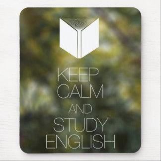 Guarde la calma y estudie el inglés alfombrilla de raton