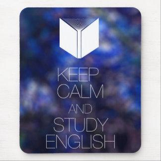 Guarde la calma y estudie el inglés alfombrillas de ratones