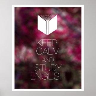 Guarde la calma y estudie el inglés póster