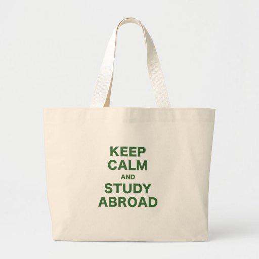 Guarde la calma y estudie en el extranjero bolsa tela grande