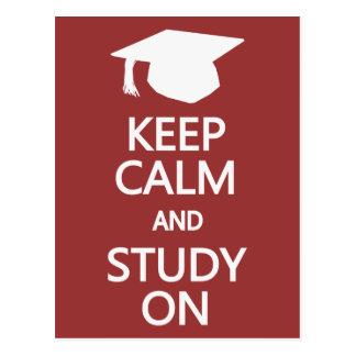 Guarde la calma y estudie en la postal de encargo