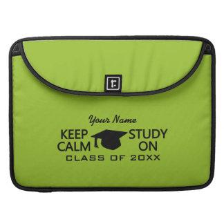 Guarde la calma y estudie en las mangas de encargo fundas macbook pro