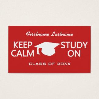 Guarde la calma y estudie en las tarjetas de tarjetas de visita