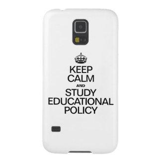 GUARDE LA CALMA Y ESTUDIE LA POLÍTICA EDUCATIVA CARCASA PARA GALAXY S5