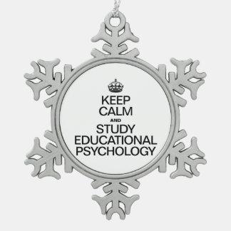 GUARDE LA CALMA Y ESTUDIE LA PSICOLOGÍA EDUCATIVA ADORNO DE PELTRE EN FORMA DE COPO DE NIEVE