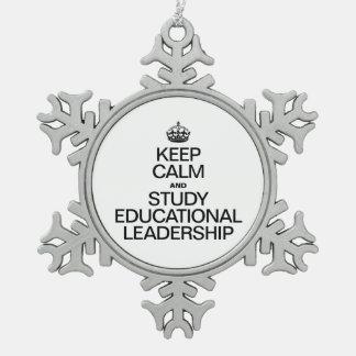GUARDE la CALMA Y ESTUDIE LEADERSHIP.ai EDUCATIVO Adorno De Peltre En Forma De Copo De Nieve