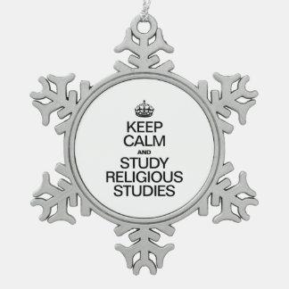 GUARDE LA CALMA Y ESTUDIE LOS ESTUDIOS RELIGIOSOS ADORNO DE PELTRE EN FORMA DE COPO DE NIEVE