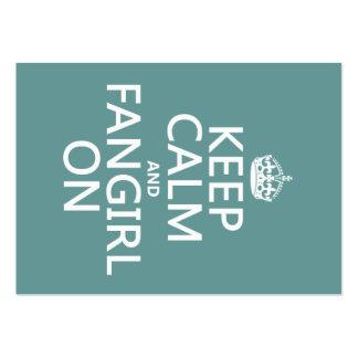 Guarde la calma y Fangirl en (en todos los Tarjetas De Visita Grandes