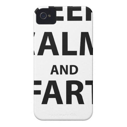 Guarde la calma y Fart Case-Mate iPhone 4 Carcasa