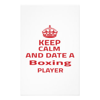 Guarde la calma y feche a un jugador del boxeo  papeleria de diseño