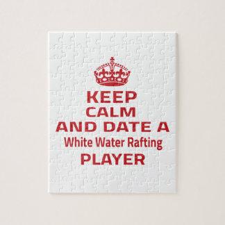 Guarde la calma y feche un agua blanca que rompecabezas con fotos