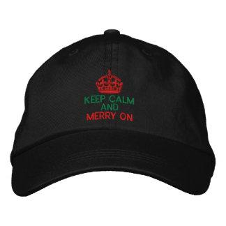 Guarde la calma y feliz en rojo gorra de béisbol bordada