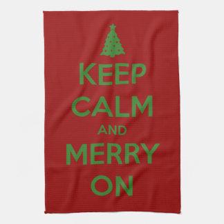 Guarde la calma y feliz en rojo y verde toalla