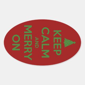 Guarde la calma y feliz en rojo y verde pegatina ovalada