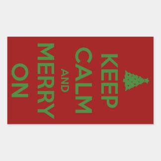 Guarde la calma y feliz en rojo y verde pegatina rectangular