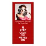 Guarde la calma y feliz encendido tarjeta fotografica