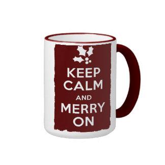 Guarde la calma y feliz encendido tazas