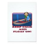 Guarde la calma y flote encendido invitación 12,7 x 17,8 cm