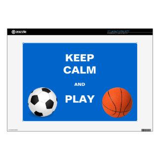 Guarde la calma y fútbol y baloncesto del juego portátil calcomanías