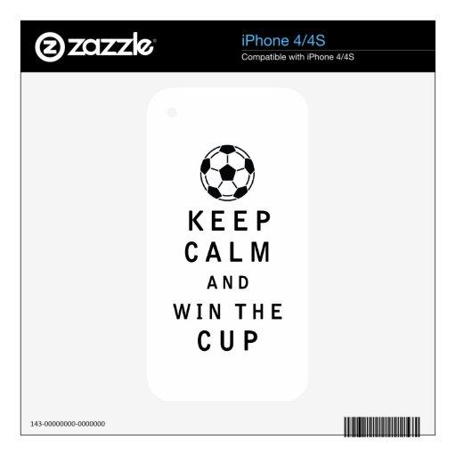 Guarde la calma y gane la taza iPhone 4 calcomanía