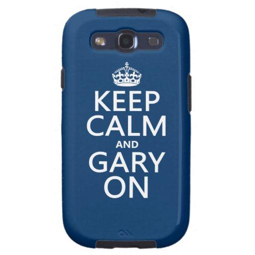 Guarde la calma y Gary en (cualquier color de fond Galaxy S3 Fundas