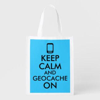 Guarde la calma y Geocache en el personalizado de Bolsas Para La Compra