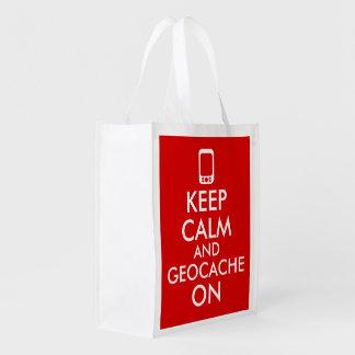 Guarde la calma y Geocache en el rojo de GPS Bolsas Reutilizables