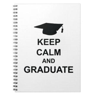Guarde la calma y gradúe libros de apuntes