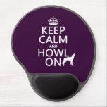 Guarde la calma y grite en (lobos) (cualquier colo alfombrilla de raton con gel