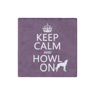 Guarde la calma y grite en (lobos) (cualquier imán de piedra
