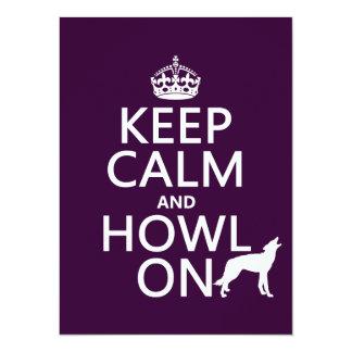 """Guarde la calma y grite en (lobos) (cualquier invitación 5.5"""" x 7.5"""""""