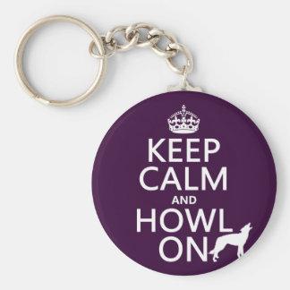 Guarde la calma y grite en (lobos) (cualquier llavero redondo tipo pin
