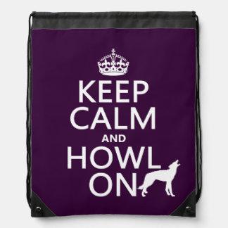 Guarde la calma y grite en (lobos) (cualquier mochila