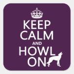 Guarde la calma y grite en (lobos) (cualquier colcomanias cuadradases